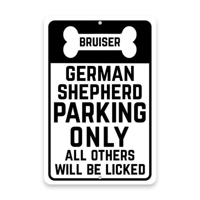 Personalized Personalized German Shepherd Parking Only with Name in Bone Metal Room Sign