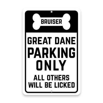 Personalized Personalized Great Dane Parking Only with Name in Bone Metal Room Sign