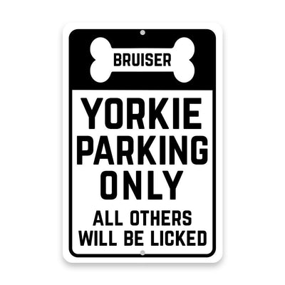 Personalized Personalized Yorkie Parking Only with Name in Bone Metal Room Sign
