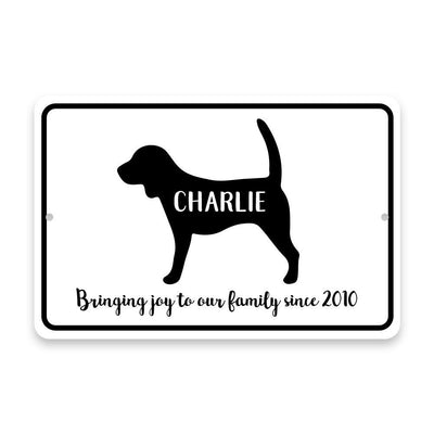 Personalized Beagle Bringing Joy to Our Lives Metal Room Sign