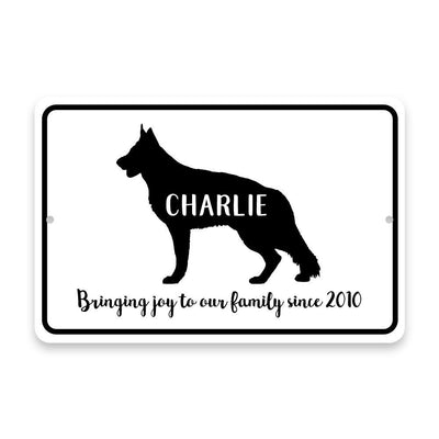 Personalized German Shepherd Bringing Joy to Our Lives Metal Room Sign