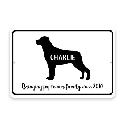 Personalized Rottweiler Bringing Joy to Our Lives Metal Room Sign