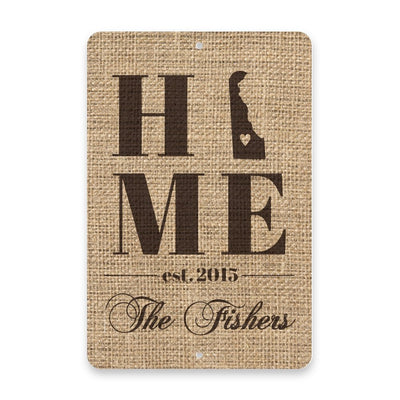 Personalized Burlap Delaware Home with Family Name Metal Room Sign