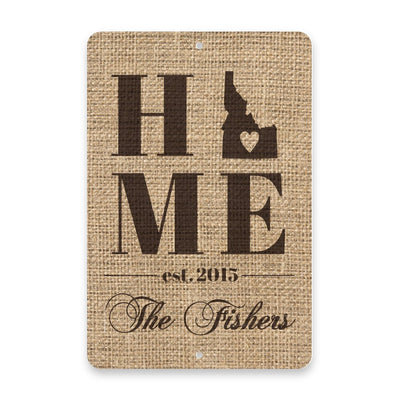 Personalized Burlap Idaho Home with Family Name Metal Room Sign
