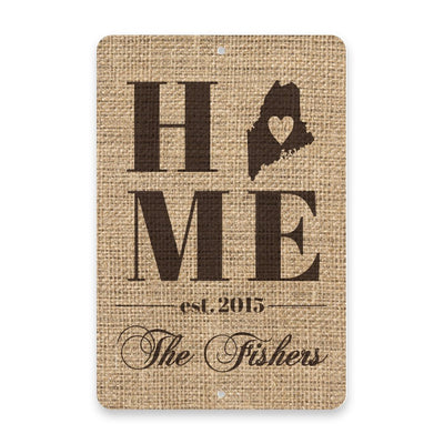 Personalized Burlap Maine Home with Family Name Metal Room Sign