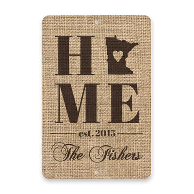 Personalized Burlap Minnesota Home with Family Name Metal Room Sign