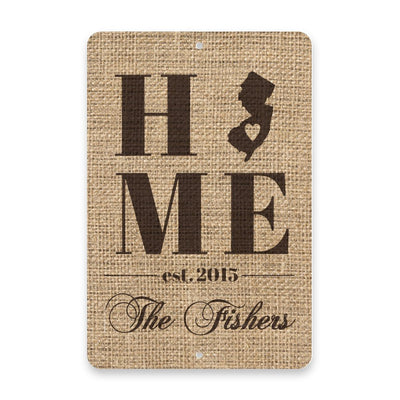 Personalized Burlap New Jersey Home with Family Name Metal Room Sign