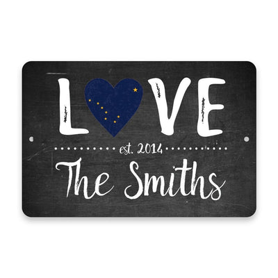 Personalized Chalkboard Alaska Love State Flag Metal Room Sign with Family Name