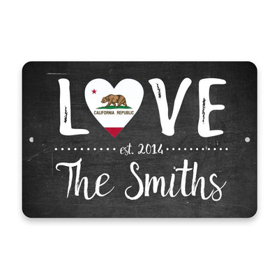 Personalized Chalkboard California Love State Flag Metal Room Sign with Family Name
