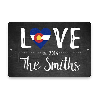 Personalized Chalkboard Colorado Love State Flag Metal Room Sign with Family Name