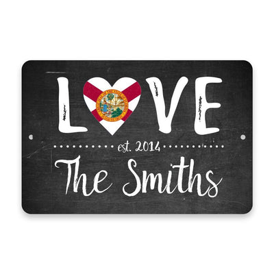 Personalized Chalkboard Florida Love State Flag Metal Room Sign with Family Name