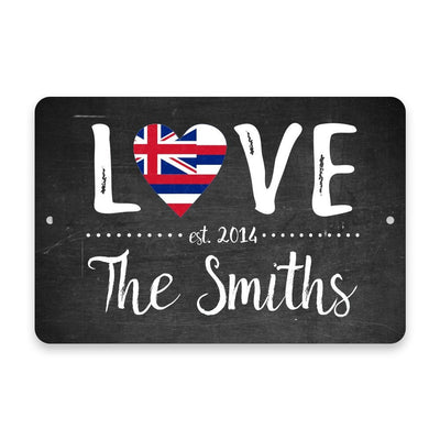 Personalized Chalkboard Hawaii Love State Flag Metal Room Sign with Family Name