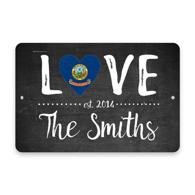 Personalized Chalkboard Idaho Love State Flag Metal Room Sign with Family Name