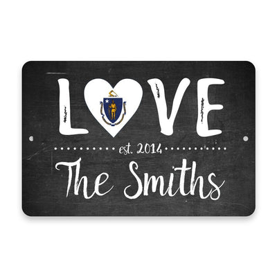 Personalized Chalkboard Massachusetts Love State Flag Metal Room Sign with Family Name