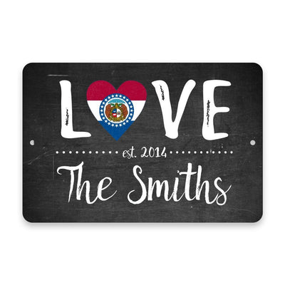 Personalized Chalkboard Missouri Love State Flag Metal Room Sign with Family Name
