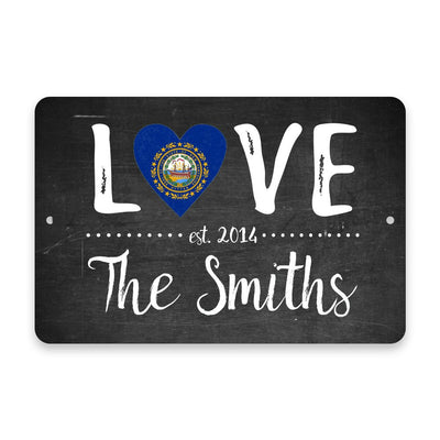Personalized Chalkboard New Hampshire Love State Flag Metal Room Sign with Family Name