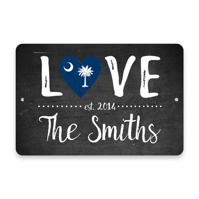 Personalized Chalkboard South Carolina Love State Flag Metal Room Sign with Family Name