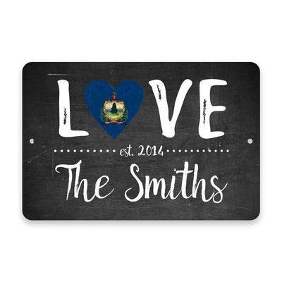 Personalized Chalkboard Vermont Love State Flag Metal Room Sign with Family Name