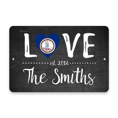 Personalized Chalkboard Virginia Love State Flag Metal Room Sign with Family Name