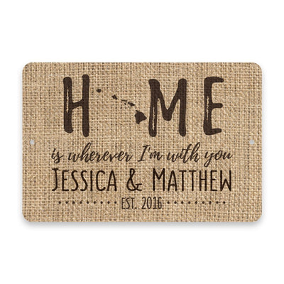 Personalized Burlap Hawaii Home is Wherever I'm with You Metal Room Sign