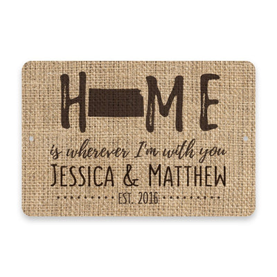 Personalized Burlap Kansas Home is Wherever I'm with You Metal Room Sign
