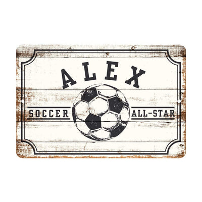 Personalized Soccer All Star Metal Wall Decor - Aluminum All Star Soccer Sign with Soccer Ball