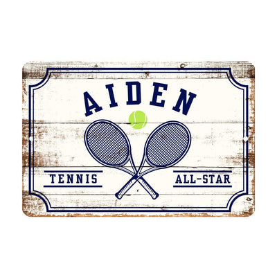 Personalized Tennis All Star Metal Wall Decor - Aluminum All Star Tennis Sign with Tennis Ball