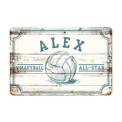 Personalized Volleyball All Star Metal Wall Decor - Aluminum All Star Volleyball Sign with Volleyball