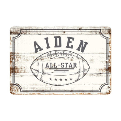 Personalized Football All Star Metal Wall Decor - Aluminum All Star Football Sign with Football