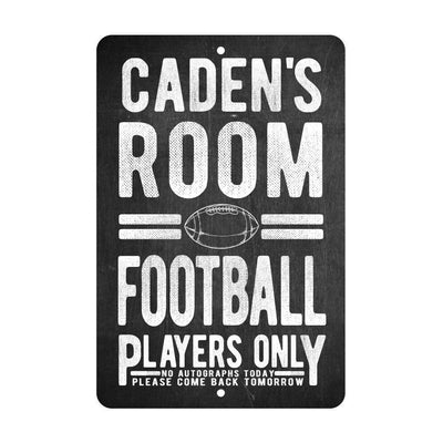 Personalized Football Players Only - No Autographs Metal Room Sign - Aluminum Football Wall Decor