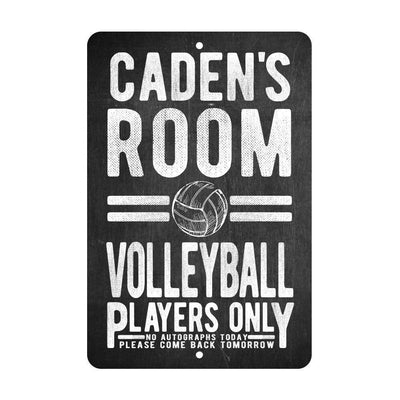 Personalized Volleyball Players Only - No Autographs Metal Room Sign - Aluminum Volleyball Wall Decor
