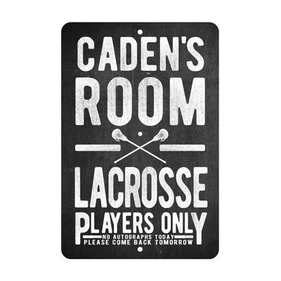 Personalized Boy's Lacrosse Players Only - No Autographs Metal Room Sign - Aluminum Lacrosse Wall Decor