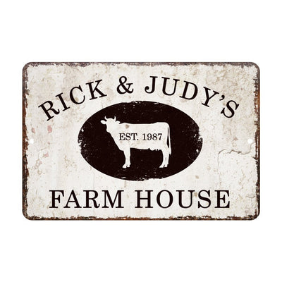 Personalized Vintage Distressed Look Farm House Metal Room Sign