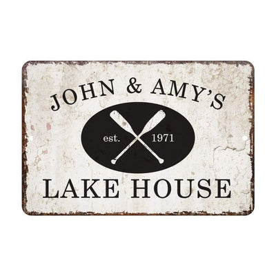 Personalized Vintage Distressed Look Lake House Metal Room Sign