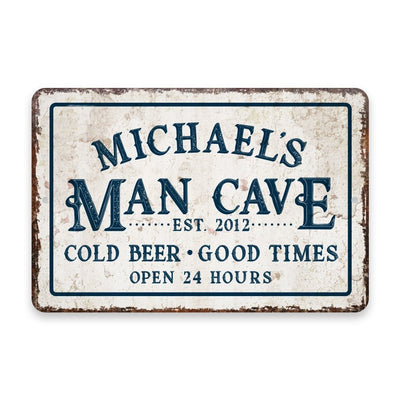 Personalized Vintage Distressed Look Man Cave Cold Beer Good Times Metal Room Sign