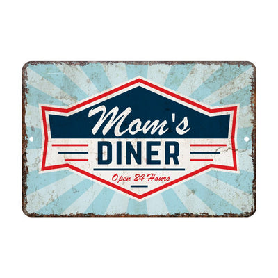 Personalized Vintage Distressed Look Diner Open 24 Hours Metal Room Sign