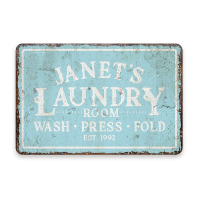 Personalized Vintage Distressed Look Mint Laundry Wash Press Fold Metal Room Sign