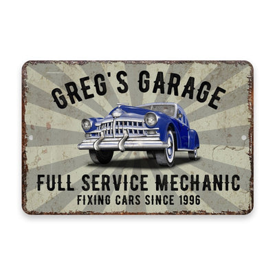 Personalized Vintage Distressed Look Classic Car Mechanic Garage Metal Room Sign