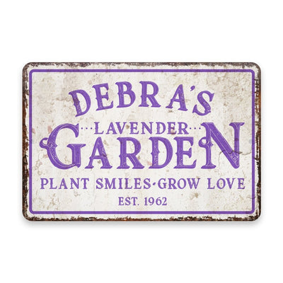 Personalized Vintage Distressed Look Lavender Garden Metal Room Sign