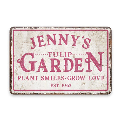 Personalized Vintage Distressed Look Tulip Garden Metal Room Sign