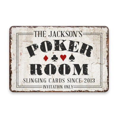 Personalized Vintage Distressed Look Poker Room Metal Room Sign