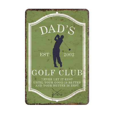 Personalized Vintage Distressed Look Mens Golf Club Metal Room Sign