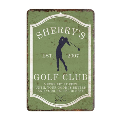 Personalized Vintage Distressed Look Womens Golf Club Metal Room Sign