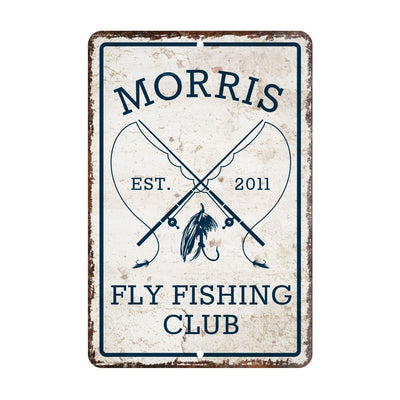 Personalized Vintage Distressed Look Fly Fishing Club Metal Room Sign