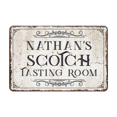 Personalized Vintage Distressed Look Scotch Tasting Room Metal Sign