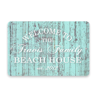 Personalized Mint Rustic Welcome to The Family Beach House Metal Room Sign