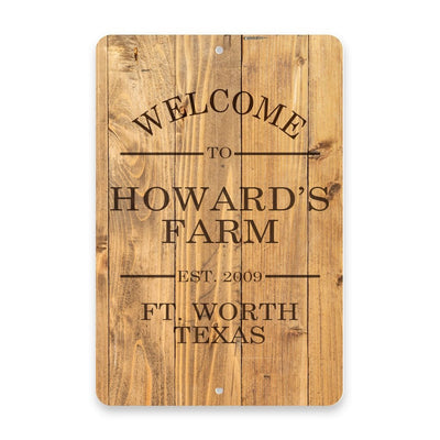 Personalized Rustic Wood Plank Welcome to The Farm Metal Room Sign