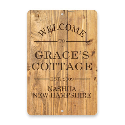Personalized Rustic Wood Plank-Look Welcome to The Cottage Metal Room Sign