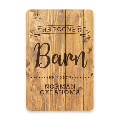 Personalized Rustic Wood Plank Barn with Name in Banner Metal Room Sign