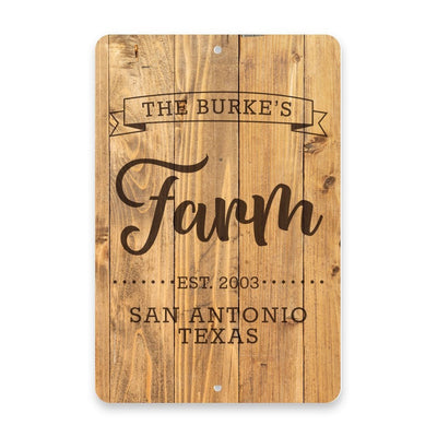 Personalized Rustic Wood Plank Farm with Name in Banner Metal Room Sign